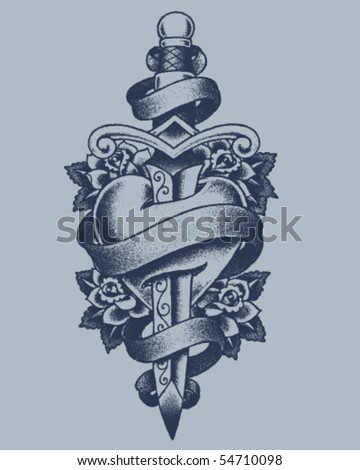 Stippled Heart and Dagger - stock vector