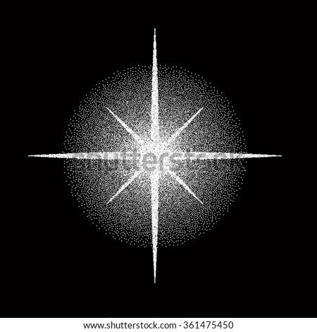 Stippled White Star   - vector illustration  - stock vector