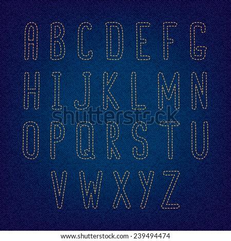Stitch alphabet on denim background - stock vector