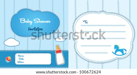 Stitch baby shower card for boy - stock vector
