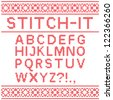 Stitch font - stock vector
