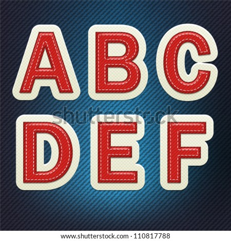 Stitched Fabric Font A-F - stock vector