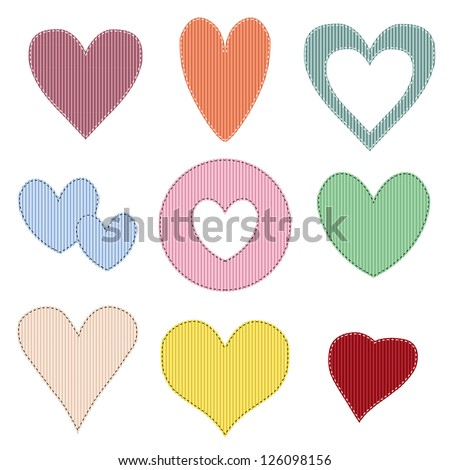 Stitched Grosgrain Ribbon Hearts, Vector Illustration