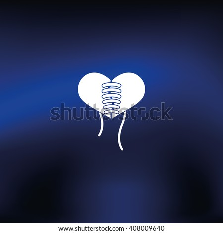 Stitched heart icon - stock vector