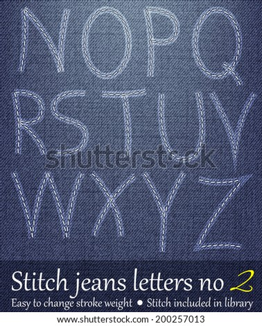 Stitched Letters with Jeans Background