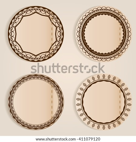 Stitched retro labels with ornament and copy space. - stock vector
