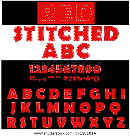 Stitched style alphabet letters. Red capital letters. Graphic design element. Vector illustration - stock vector