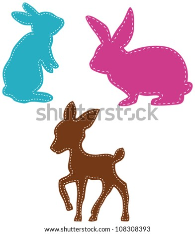 stitches on deer and easter bunnies