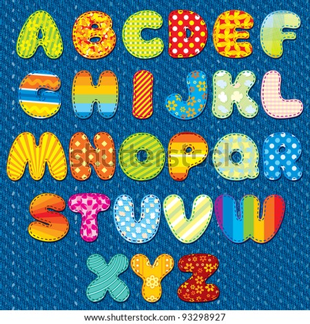 Stitches Patchwork Font, Vector Colorful Motley Alphabet for your Design and Text - stock vector