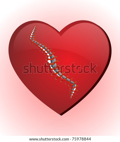 stitching heart - stock vector