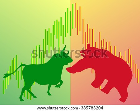 stock bull and bear icon logo with arrow design for investment market - stock vector