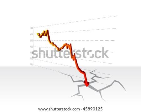 stock crash diagram - stock vector