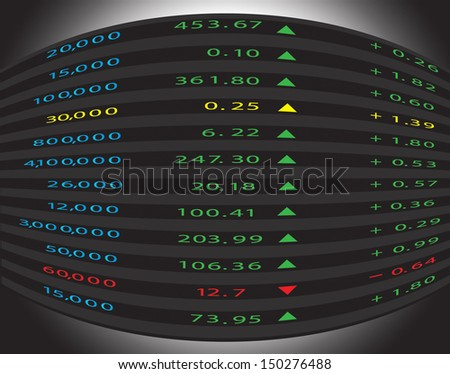 Stock diagram on the monitor - stock vector