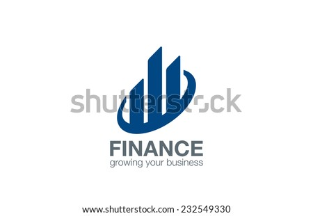 Stock Exchange Finance logo design vector template. Real Estate abstract logotype.  Business Corporate sign. Financial concept icon.  - stock vector
