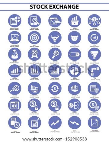 Stock exchange icon set,Blue version,vector - stock vector