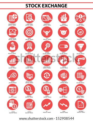 Stock exchange icon set,Red version,vector - stock vector