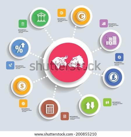 Stock exchange info graphics design,vector - stock vector