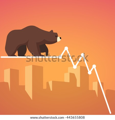 Stock exchange market bears metaphor. Falling, declining down stock price. Trading business concept. Modern fat style vector illustration. - stock vector