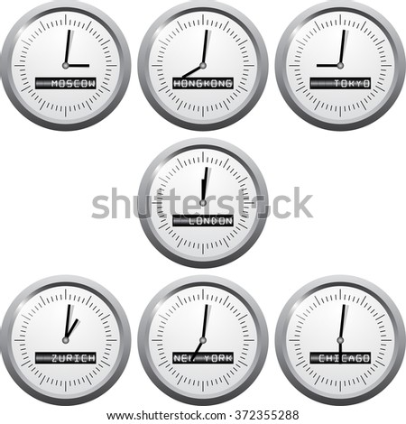 Stock exchange time in financial centers. Vector stock exchange time. Isolated on white background. - stock vector