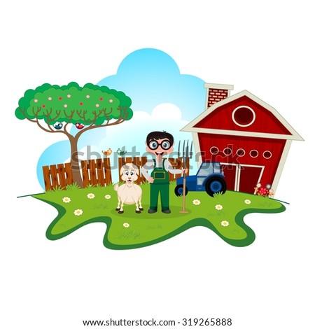 Stock farmer with goat on farm cartoon for your design - stock vector