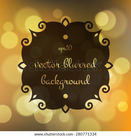 Stock fuzzy texture with bokeh effect and frame for text or title - stock vector