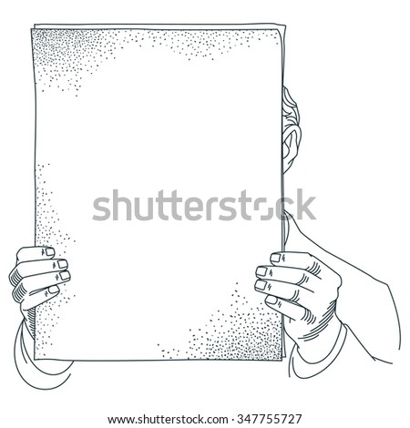 Stock illustration. A man holds a sheet of paper for your text.