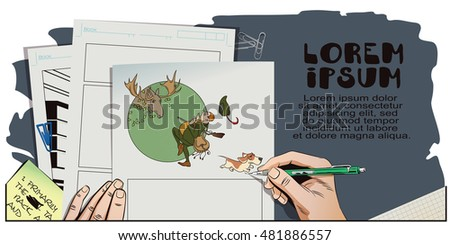 Stock illustration. Cartoon life. Hunter with dog on hunting. Hand paints picture.