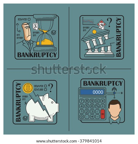 Stock illustration. Flat infographic. Bankruptcy and debt. - stock vector