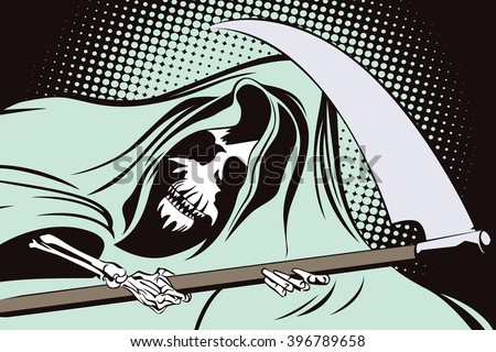 Stock illustration in retro style pop art and vintage advertising. Grim Reaper. - stock vector