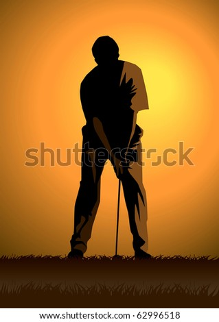 Stock illustration of a golfer - stock vector