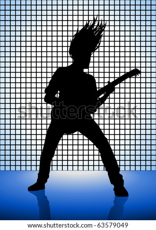 Stock illustration of a man playing guitar - stock vector