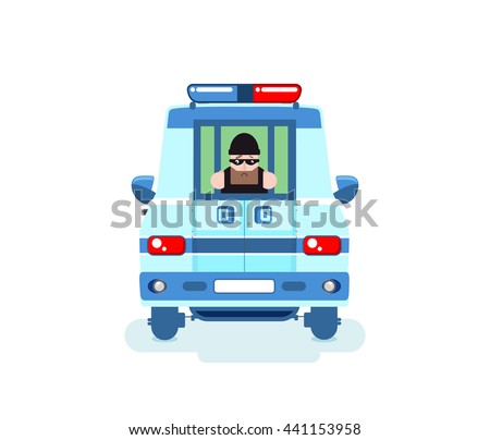 Stock illustration of isolated offender in police car, criminal behind bars, criminal caught, offender transported in police vehicle with grid, perpetrator black mask was arrested on white background - stock vector