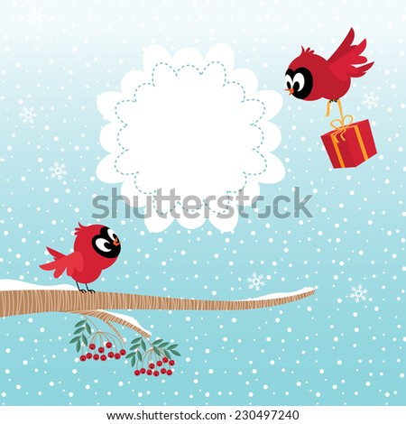 Stock illustration of two birds in the winter forest celebrate Christmas or Valentine Day