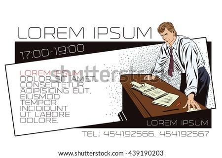 Stock illustration. People in retro style pop art and vintage advertising. Businessman. Boss. Template ads or business card.