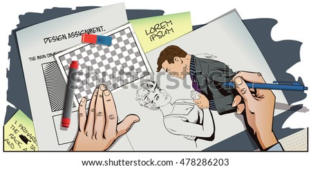 Stock illustration. People in retro style pop art and vintage advertising. Dancing couple. Hand paints picture.