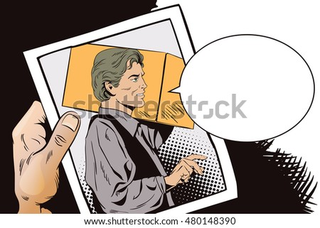 Stock illustration. People in retro style pop art and vintage advertising. Delivery man with a parcel. Hand with photo.