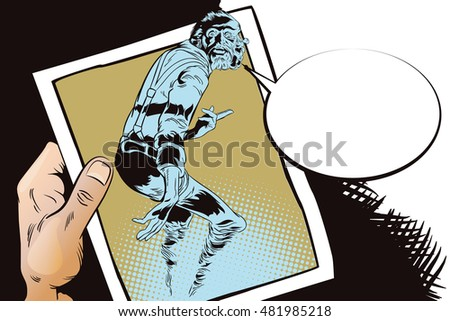 Stock illustration. People in retro style pop art and vintage advertising. Ghost Halloween. Hand with photo.
