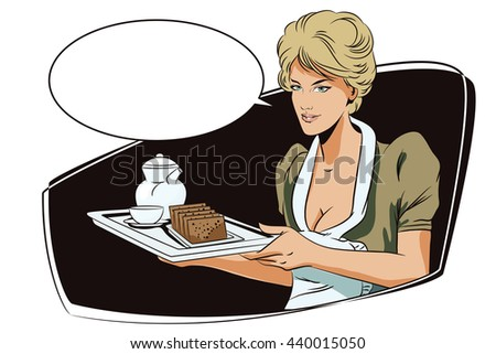 Stock illustration. People in retro style pop art and vintage advertising. Girl waitress with breakfast.