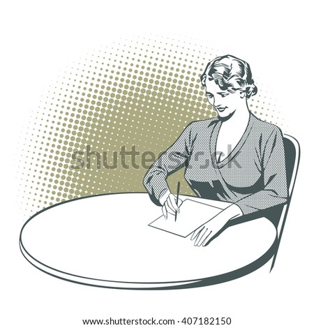 Stock illustration. People in retro style pop art and vintage advertising. Girl writes, sitting at the table.