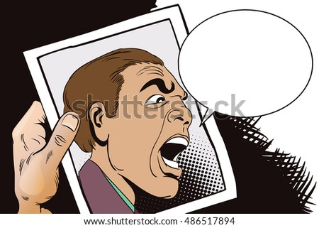 Stock illustration. People in retro style pop art and vintage advertising. Men swear. Hand with photo.