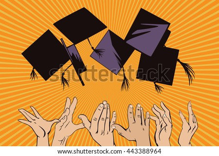 Stock illustration. People in retro style pop art and vintage advertising. People throw academic caps.  - stock vector