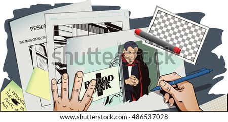 Stock illustration. People in retro style pop art and vintage advertising. Vampire at entrance to blood bank. Hand paints picture.