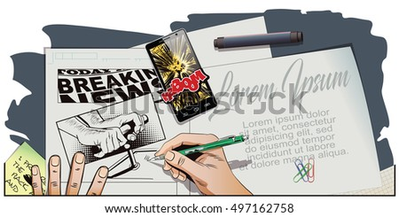 Stock illustration. People in retro style. Presentation template. Explodes smartphone. Man pushes detonator for tnt. Hand paints picture.