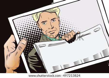 Stock illustration. People in retro style. Presentation template. Man shows a newspaper. Place under your headline. Hand with photo.
