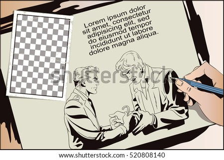 Stock illustration. People in retro style. Presentation template. Police handcuffs offender. Hand paints picture.