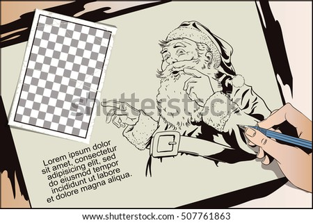 Stock illustration. People in retro style. Presentation template. Santa Claus with a welcome gesture. Hand paints picture.