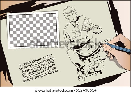 Stock illustration. People in retro style. Presentation template. Young man stirs dough for cookies. Hand paints picture.
