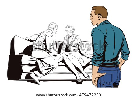 Stock illustration. People in retro style. Young couple sitting on couch and talking. Other guy looks at them.
