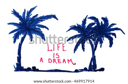 Stock illustration silhouette of tropical exotic seashore with palm trees
