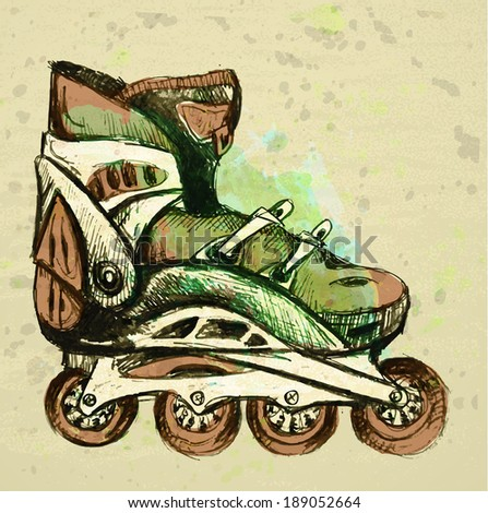 Stock  illustration with retro roller skates on a grunge background  - stock vector